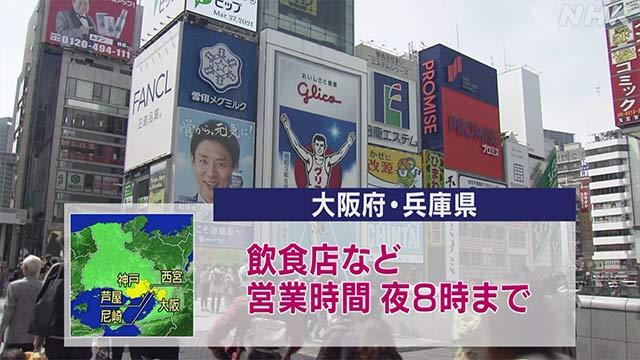 大阪 兵庫「まん延防止措置」対象地域の飲食店などに時短要請