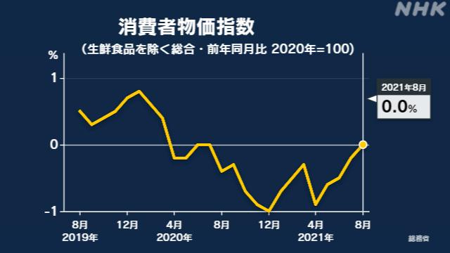 8月の消費者物価指数 去年同月比で横ばい 下落に歯止め