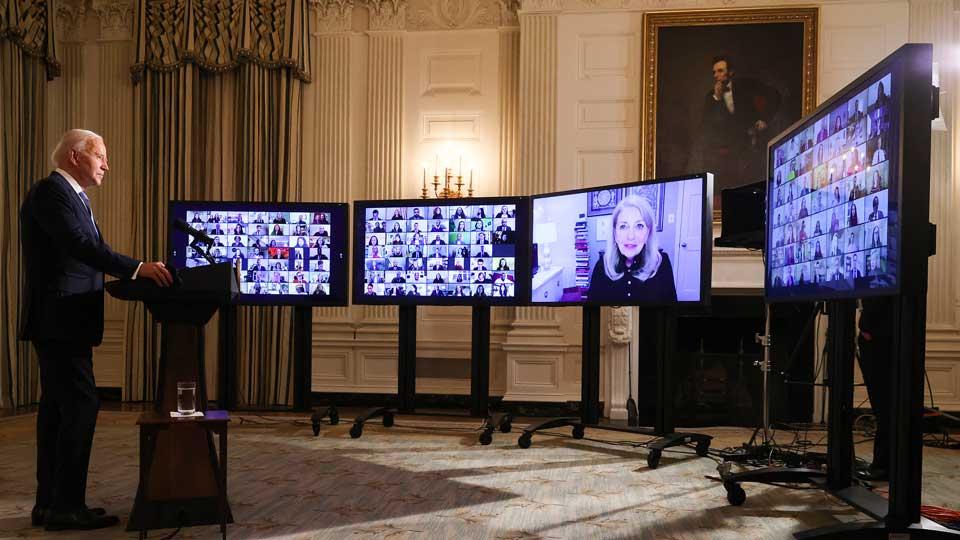 Biden U.S. President and Zoom swearing ceremony