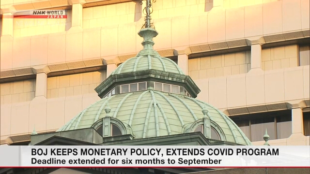 BOJ keeps monetary policy, extends COVID program